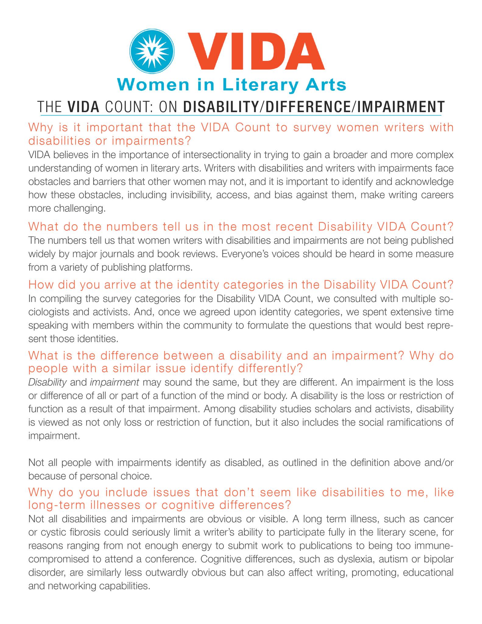 VIDA Disability Primer: page 1