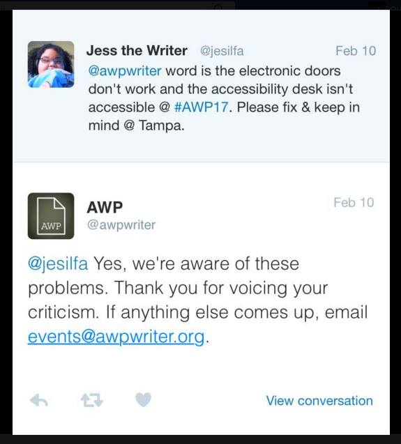 ... \u201c@awpwriter word is the electronic doors don\u0027t work and the accessibility desk isn\u0027t accessible @AWP17. Please fix \u0026 keep in mind @T&a. Tweet by AWP ...  sc 1 st  VIDA Women in Literary Arts & DISABILITY ACCESS AT AWP 2017 \u0026 IMPROVEMENTS: YOUR EXPERIENCES ...