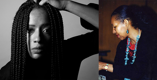 Two photos of queer women of color side by side. On the left, a black and white photograph of Rachel Eliza Griffiths, and on the right, an image of Ai in profile.