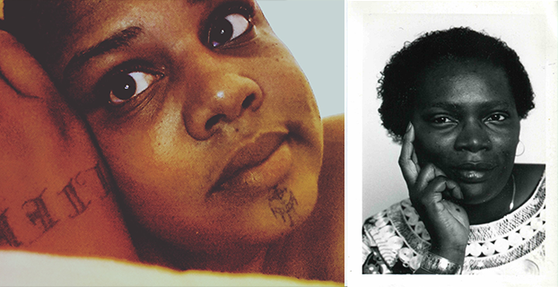 Two photos of queer women of color side by side. On the left, close-up of Joy KMT, and on the right, a black and white photograph of Pat Parker.