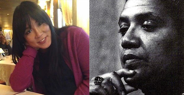 Two photos of queer women of color side by side. On the left, Ryka Aoki, and on the right, a black and white photograph of Audre Lorde.