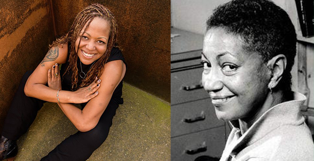 Two photos of queer women of color side by side. On the left, Samiya Bashir, and on the right, a black and white photograph of June Jordan.