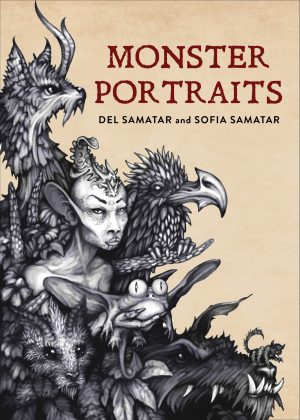 """Cover for """"Monster Portraits,"""" by Del Samatar and Sofia Samatar. The cover is the color of a tea stain or aged paper, and there are black and white illustrations of various mythical creatures and monsters diagonally across the left half of the cover."""