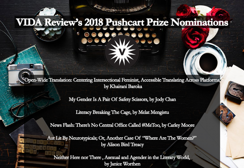 An image of a desk with a typewriter and camera, listing VIDA Review's 2018 Pushcart Prize Nominations.